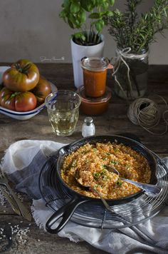 Risotto de tomate y albahaca fresca | Tomato and fresh Basil Risotto http://saboresymomentos.es