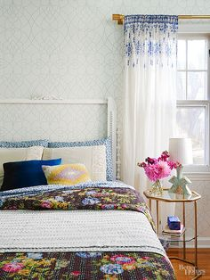 This room has a Salvaged Headboard. The mix of patterns, the floral prints...love everything