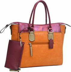 """This sophisticated tote bag stands out with its faux leather metallic contrast, silver tone hardware and multiple compartments. A bonus zippered coin pouch (7.5"""" x 5"""") is conveniently included. This bag features a front pouch pocket with a magnetic snap closure and an additional zippered front pocket, and a back zippered pocket. Its fully lined interior includes an inside zippered pocket, a center zippered compartment, and a cell phone pouch. It has a zippered top closure, dual carry handles…"""
