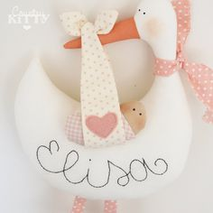 Stork softie newborn decoration - Fiocco nascita cicogna - customisable name - baby girl - pink. £24.00, via Etsy.