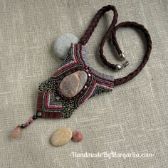 Handmade necklace. Natural stone, bead embroidering,textile $42, #Necklace, #Handmade, #Beading, #Embroidering, #Red, #Jewelry, #Jewellery, #Gift Red Jewelry, Jewelery, Handmade Accessories, Handmade Necklaces, Margarita, Natural Stones, Washer Necklace, Beading, Textiles