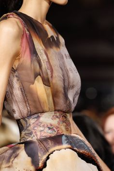 Distressed Burn Print Dress - warm colours & striking print detail; interesting fashion prints // Giles