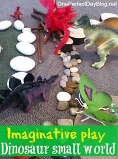 Using loose parts like pebbles, twigs and glass beads to create small worlds. Such a great idea for imaginative play.