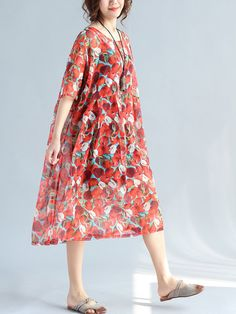 Women Floral Printed Half Sleeve High Waist Loose Chiffon Dresses