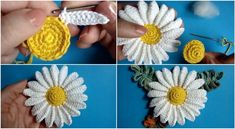 Crochet Chamomile Flower – Tutorial – Page 2 Crochet Chamomile Flower + Videos (Crochet and Knitting Patterns) This is a wonderful, easy, versatile pattern, you can play with colour, yarn ply and hook size to make variations The Greeks named this herb Crochet Flower Tutorial, Crochet Flower Patterns, Crochet Flowers, Knitting Patterns, Mode Crochet, Crochet Daisy, Irish Crochet, Crochet Motifs, Crochet Stitches