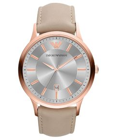 Emporio Armani Watch, Men's Nude Leather Strap 43mm AR2464 - Men's Watches - Jewelry & Watches - Macy's