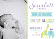 Hey, I found this really awesome Etsy listing at http://www.etsy.com/listing/104145563/baby-girl-birth-announcement-5x7