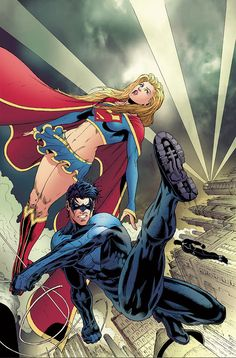 Nightwing and Supergirl by Ian Churchill
