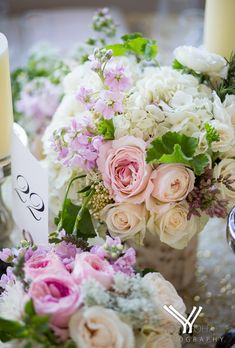 Pink and White Rose and Dahlia Centerpiece
