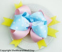 Large Hair Bow for Girls Blue Pink Yellow Big by SheWearsitWell, $14.00