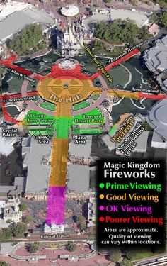 Robo's map of the best areas to watch the fireworks at MK, WDW.