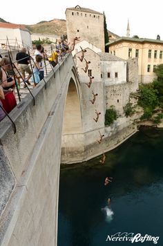 Mostar, Herzegovina, Bosnia, Old Bridge - Diving competition every July. Travel Around The World, Around The Worlds, Mostar Bosnia, Cliff Diving, Bosnia And Herzegovina, Tower Bridge, Rafting, Bridges, Trip Planning