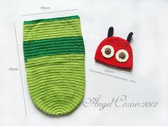Baby Crochet Caterpillar Hat Pants Outfit Photo Photography Prop Newborn Costume
