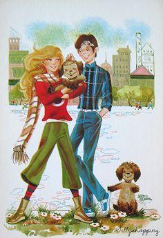 Vintage Bigeyed Couple Postcard