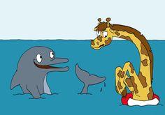 Giraffe and dolphin having a swim [Beth's Blog: April 2010]