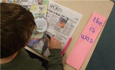 Sight Words: Hunt for sight words in magazines and newspapers using magnifying glass