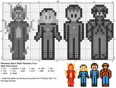 Dork Stitch: A Fantastic Four Sprite cross stitch Pattern- All of Them on One Chart!