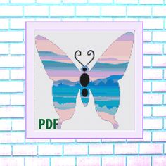 Butterfly Modern Cross Stitch Pattern, blue- landscape, needlepoint-DIY, insect, nature, embroidery, Instant download PDF by ItsStitchy on Etsy Sugar Skull Halloween, Bird Skull, Modern Cross Stitch Patterns, Colorful Pictures, Cross Stitching, Needlepoint, Pdf, Butterfly, Embroidery