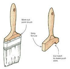 Turn Your Paint Brush into a Push Stick - Fine Woodworking Tip