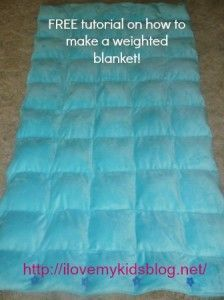 PIN this awesome DIY Free Tutorial on how to make a weighted blanket, they have been shown to help calm/relax children that have Autism. AWESOME! Easy and inexpensive to make!