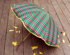 Vintage Umbrella Plaid Red and Green with Lucite Handle. $42.00, via Etsy.