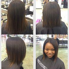 Texture client triangular layers silk press haircut Paul Mitchell the school Esani