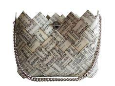 Recycled Music Sheet Handbag / Eco Friendly Bag / Woman Bag / Paper Purse / Woven Bag / Recycled Paper