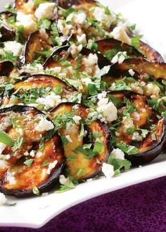 Low FODMAP Recipe and Gluten Free Recipe - Eggplant with feta & herb dressing Fodmap Recipes, Gluten Free Recipes, Vegetarian Recipes, Cooking Recipes, Healthy Recipes, Healthy Herbs, Going Vegetarian, Best Eggplant Recipe, Eggplant Recipes