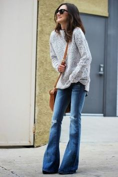flares   cable knit sweater