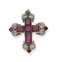 Garnet and diamond cross