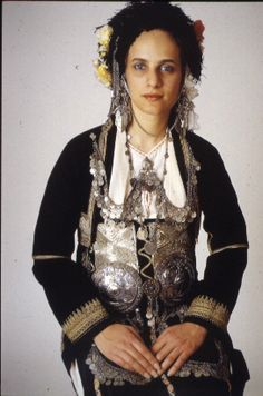 Traditional costume from Roumlouki,Macedonia, Greece Traditional Fashion, Traditional Dresses, Folk Costume, Costumes, Republic Of Macedonia, Alexander The Great, Kai, Historical Clothing, People Around The World