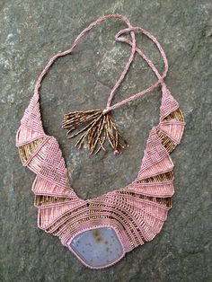 Tammy Tiranasar-USA  Dusty Rose Freeform Beaded Macrame Necklace
