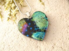 Color Burst Heart Necklace  Fused Glass Jewelry by ccvalenzo