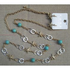 """Long 36"""" Layer Link Loop Chain Necklace Starfish Faux Turquoise Bead Accent Earring Jewelry Set"""