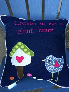 A personal favorite from my Etsy shop https://www.etsy.com/listing/456929006/clean-heart-denim-pillow