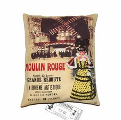 Paris Moulin Rouge Printed Pillow Cover by gGlinParis on Etsy, $32.00