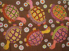 Turtle Design Tea Towel - Vintage/Retro/Psychedelic - Pure Linen Made in Ireland