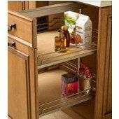 Hafele Full Extension Base Unit Pull-Out Frame for Cabinet Storage System by Hafele. $463.97. Organize your kitchen with this Base Cabinet Storage System by Hafele. It has top and bottom mounting points with a full extension frame providing full access to both shelves. The system is made for overlay and inset doors and has a load capacity of 80 lbs. The frame and shelves are height adjustable for a perfect fit. The Base Cabinet Storage System ships via UPS/FedEx Ground.