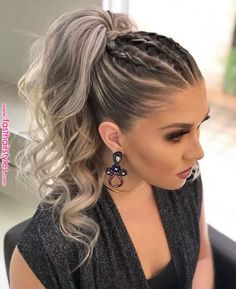 DIY Ponytail Ideas You're Totally Going to Want to 2019 Adorable Ponytail Hairstyles; Classic Ponytail For Long Hair; Dutch Braids To A High Pony;High Wavy Pony For Shoulder Length Hair Cute Ponytail Hairstyles, Cute Ponytails, Summer Hairstyles, Wedding Hairstyles, Hairstyle Ideas, Ponytail Ideas, Trendy Hairstyles, High Ponytail With Braid, Cheer Hairstyles