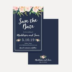 Navy Blue and Blush Floral Wedding Save The Date, Save The Date Template with Photo, Cheap Online Wedding Save The Dates, Hadley Designs Save The Date Online, Floral Wedding Save The Dates, Save The Date Templates, Love Sparkle, Color Card, As You Like, Wedding Signs, Wedding Stationery, Destination Wedding