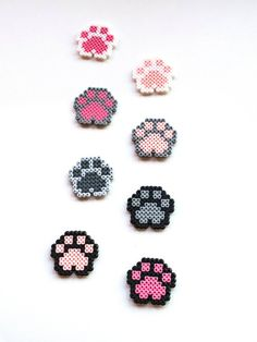 Dog Paws Cat Paw Magnet Donation for Animals Pixel art 8 bit bit magnet . - Dog Paw Cat Paw Magnet Donation for Animals Pixel Art 8 Bit Magnet Animal Paw Magnet Hama Pearl Paw - Perler Bead Designs, Easy Perler Bead Patterns, Melty Bead Patterns, Perler Bead Templates, Hama Beads Design, Diy Perler Beads, Perler Bead Art, Pearler Beads, Beading Patterns