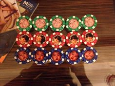 Poker chip idea for a 25th birthday: I put a picture of when he was 1 for the $1 chips, a picture of when he was 5 years old for the $5 chips and a picture of him now for the $25 chips