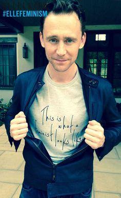 This is what a feminist looks like via Tom Hiddleston, actor, ELLE cover star, ELLE writer and feminist.