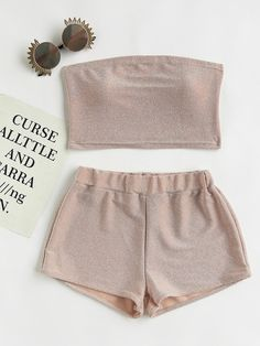 Shop Sparkle Bandeau Top With Shorts online. SheIn offers Sparkle Bandeau Top With Shorts & more to fit your fashionable needs. Teenage Outfits, Teen Fashion Outfits, Trendy Outfits, Girl Outfits, Summer Outfits, Cute Outfits, Bandeau Outfit, 2 Piece Outfits, Two Piece Outfit