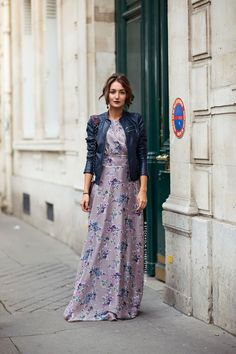 Beautiful maxi dress with leather coat