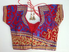 Red Embroidery Blouse - Sari Blouse - Saree Blouse - Sari Top - For Women - Designer saree Blouse - Designer Blouse by JahanviFashionShop on Etsy