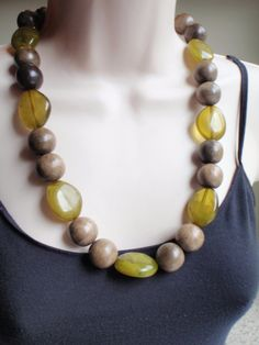 Green Mist Tropical Wood Bead Necklace Chunky by Spasojevich, $39.99