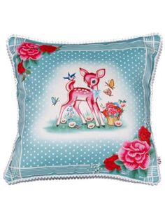 Rose Deer Cushion from Lapin and Me on Big Cartel Patch Quilt, Pink Love, Pretty In Pink, Kitsch, Deer Design, Coin Bag, How To Make Pillows, Plaid, Vintage Greeting Cards