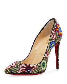 Miss+Taos+Beaded+100mm+Red+Sole+Pump,+Black/Multi+by+Christian+Louboutin+at+Bergdorf+Goodman.