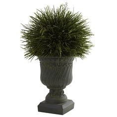 17 Potted Grass w/Decorative Urn (Indoor/Outdoor) Outdoor Artificial Plants Say it loud and proud - We love grass! Left to grow, grass is fluffy, Small Artificial Plants, Artificial Plant Wall, Artificial Turf, Fake Plants, Artificial Flowers, Indoor Plants, Indoor Outdoor, Indoor Trees, Artificial Boxwood